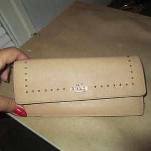 Coach Studded Wallet in  beige Pebbled Leather
